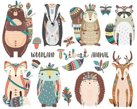 Cute Tribal Woodland Animal Elements 일러스트