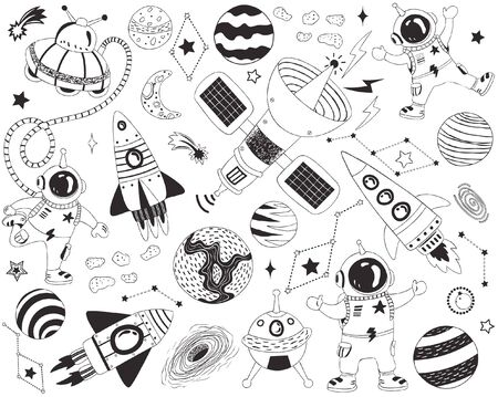 Doodle Outer Space Elements 일러스트