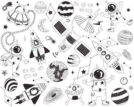 Doodle Outer Space Elements Stock Illustratie