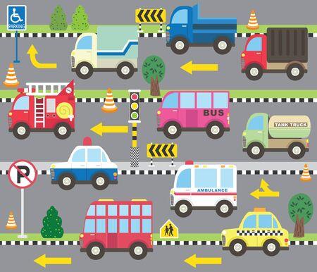 Cute Transportation Theme Collection Set 일러스트