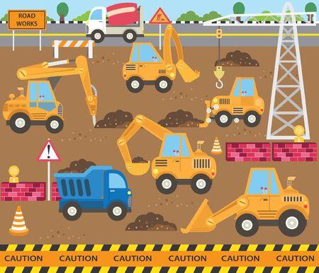Cute Construction Transportation Theme Set Banque d'images - 131268919