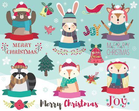 Cute Christmas Design Element Set