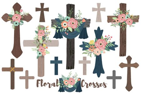 A Vector Of Wood Flowers Crosses for Baptism, Florals Cross and Holy Spirit