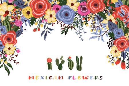 A Vector of a Mexican fiesta flowers with cactus design