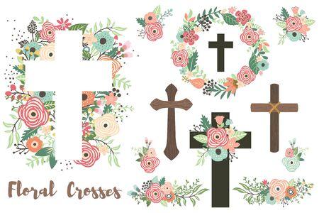 Ein Vektor von floralen Kreuzen-Elementen-Set