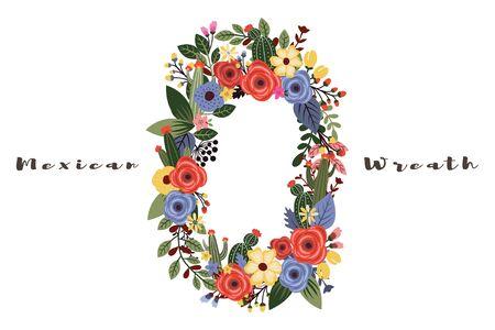 A Vector of a Mexican fiesta flowers wreath design element