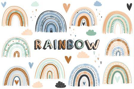 Vector illustration of the Boho rainbow collections set 일러스트