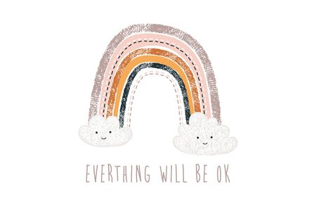 Cute Boho Rainbow greeting elements