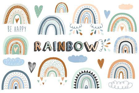 Colorful Cute Rainbow Boho Element Set
