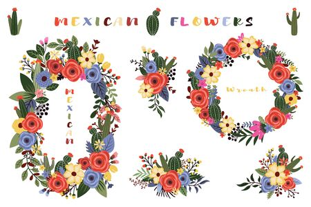 Colorful Mexican Wild Flower Wreath