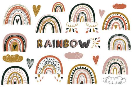 Nursery Cute Boho Rainbow Elements Illustration