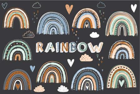 Chalkboard Cute Boho Rainbow Elements 일러스트