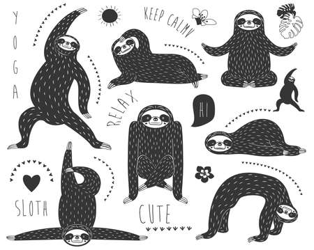 Doodle Sloth Bear Yoga Pose Collections