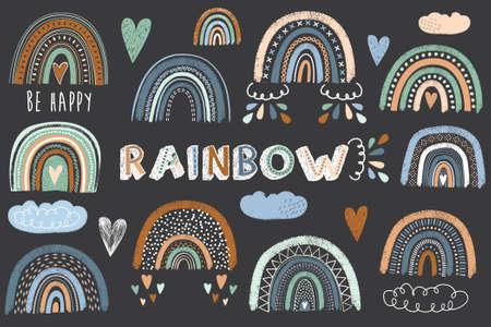 Cute Chalkboard Boho Rainbow Collections Set