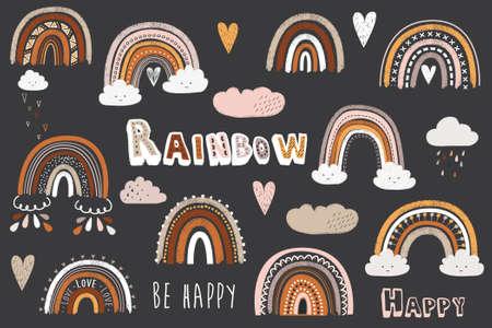Cute Chalkboard Doodle Boho Rainbow Elements