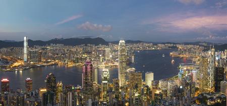 Panorama of Victoria Harbor of Hong Kong city at dusk Foto de archivo