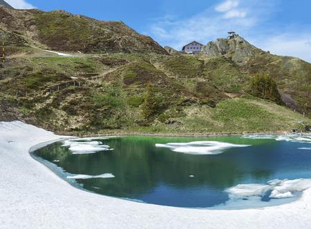 Panoramic view of beautiful lake in Kleine Scheidegg, Jungfrau, Swiss