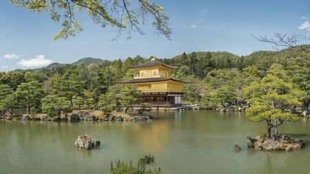 rokuonji: Panorama of Kinkaku-ji (Temple of the golden Pavilion) in Kyoto, Japan