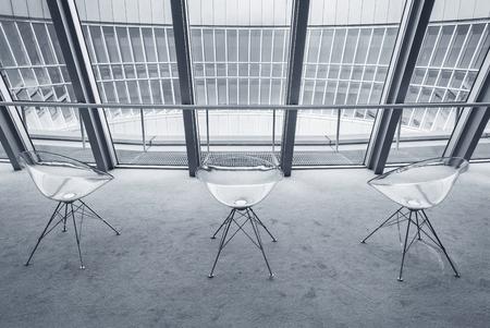 Sunlit interior design with panoramic window