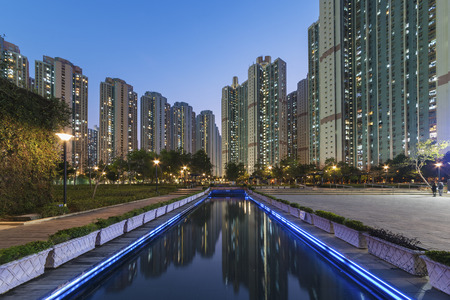 overcrowded: public estate in Hong Kong at dusk