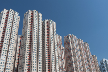 overcrowded: High rise residential building in Hong Kong Stock Photo