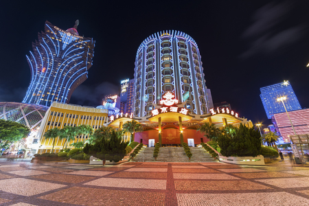 MACAU, CHINA - JUNE 30, 2016: Grand Casino Lisboa on June 30, 2016 in Macau. Macau is the worlds top casino market and Casino Lisboa is one of the most well known casinos in the city.