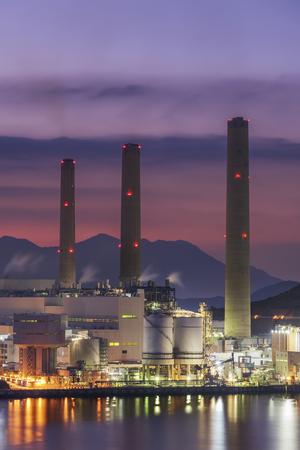 Power plant at dusk Stock Photo