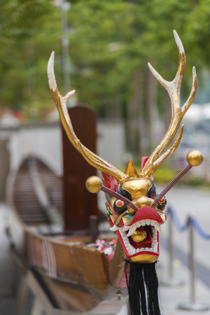 Dragon head on dragon boat for Chinese dragon boat festival
