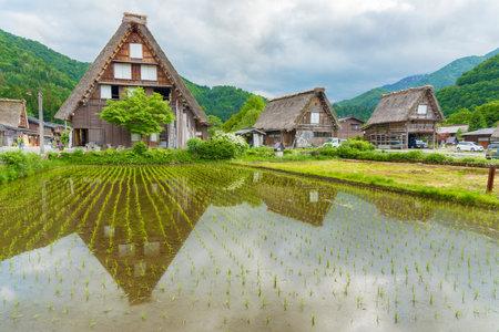 Historic Village of Shirakawa-go in Japan in Springtime Editorial