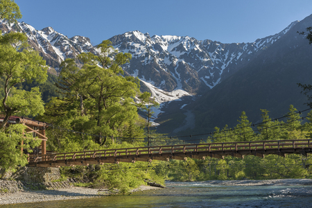 Hotaka mountains and Kappa bridge in Kamikochi, Nagano, Japan