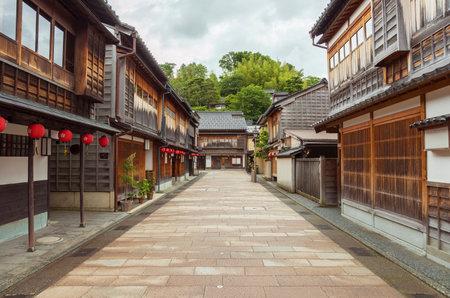 Historical street at Higashichaya district, Kanazawa, Japan