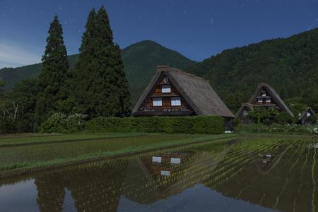 gokayama: Historic Village of Shirakawa-go at night in Japan in Springtime Stock Photo