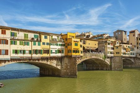 river arno: Ponte Vecchio - the bridge market in the center of Florence, Tuscany, Italy Stock Photo