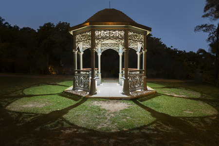 Gazebo in park at night Stock Photo