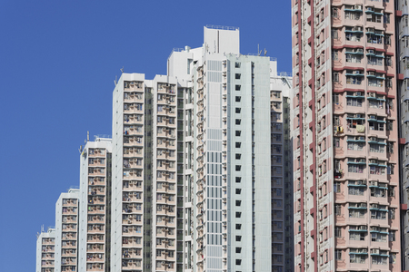 overcrowded: high rise residential building in Hong Kong city