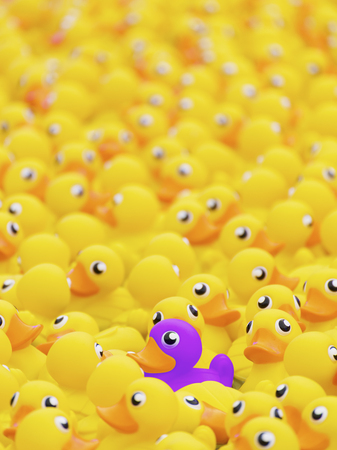 Unique purple toy duck among many yellow ones. Standing out from crowd, individuality and difference concept Reklamní fotografie - 84468696