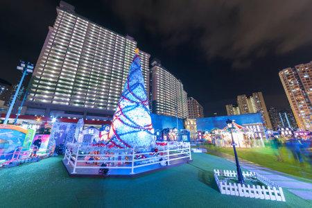 Hong Kong, China - January 3, 2017 : Christmas tree in residential district of Hong Kong, China.