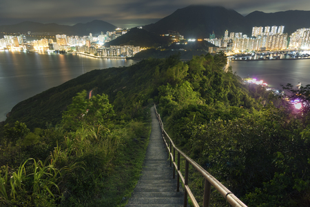 Night scene of Hiking Wilson Trail in Hong Kong city