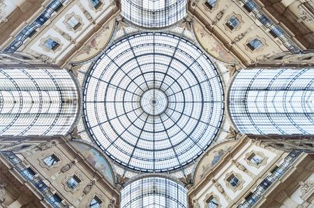 Glass dome of Galleria Vittorio Emanuele in Milan, Italy Foto de archivo