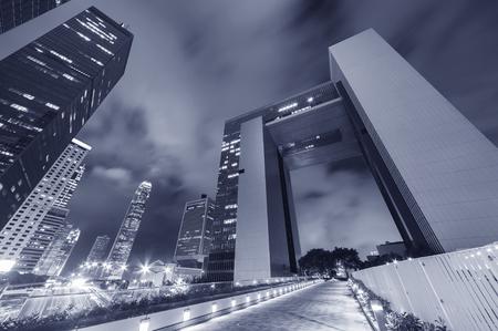 Modern skyscraper in Hong Kong city at night