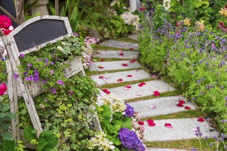 path in beautiful green garden