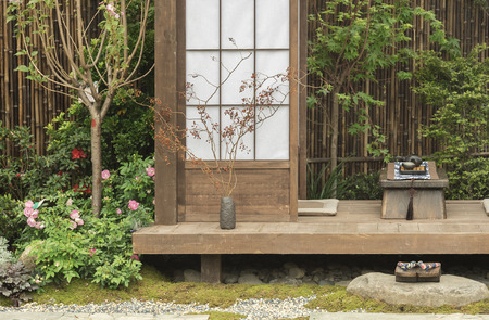 Japanese house and garden Stock Photo