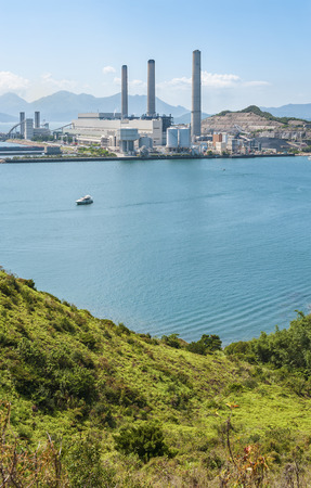 Power plant in Hong Kong Stock Photo