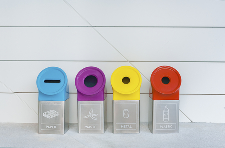 Different Colored Recycle Bins For Collection Of Recycle Material Stock Photo