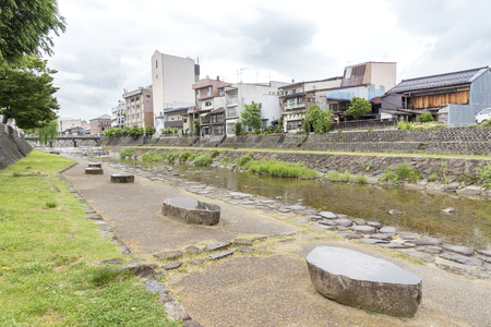 residential building and river and Takayama city, Japan 写真素材