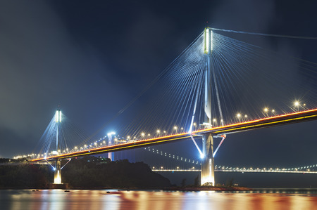 Ting Kau Bridge and Tsing Ma Bridge in Hong Kong Imagens