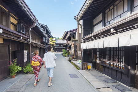 Takayama, Japan - June 05, 2017 : People visit the Old Town in Takayama, Japan. Takayama is an important tourism destination with well preserved old town.