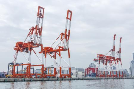 Cranes in Harbor of Osaka city, Japan