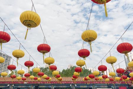 Chinese lantern in Wong Tai Sin Temple in Hong Kong city, China