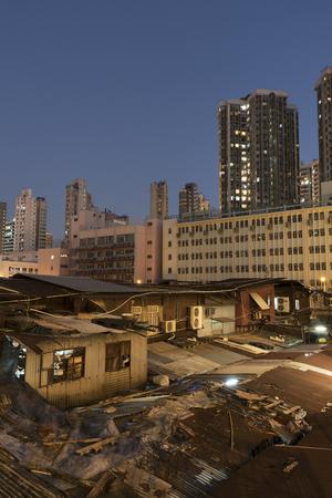 Hong Kong city at night Imagens